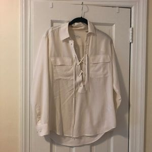 White silk equipment blouse